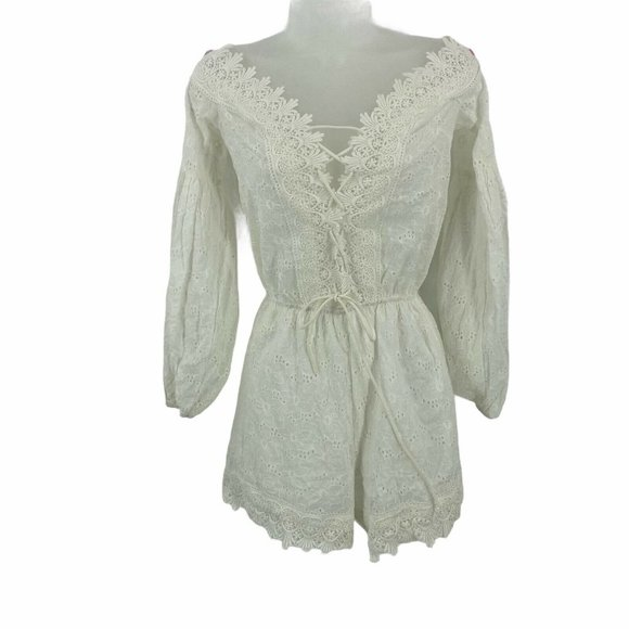Shein XS Romper Off the Shoulder White Lace Eyelet
